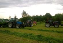 Viljelemme nurmirehua ja viljaa eläinten rehuksi. Kesäisin osa eläimistä laiduntaa ulkona